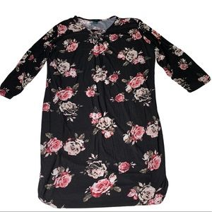 Plus Size Floral Print Dress with Criss Cross Top